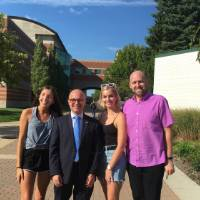 Guillaume LaCroix with students from the French Club on GVSU campus